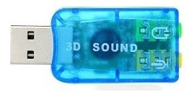 Adaptador Som Usb 3d Sound Azul