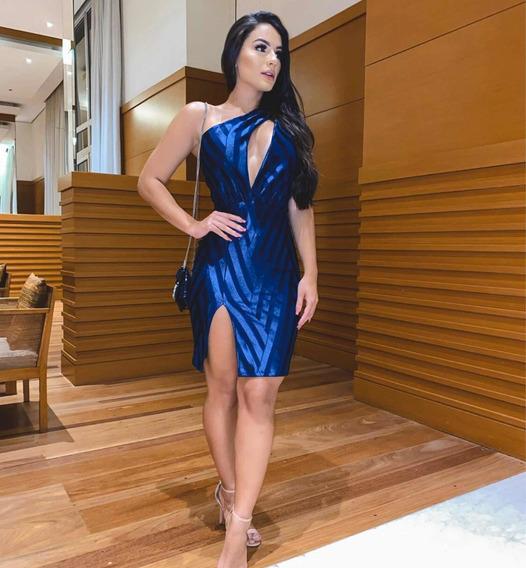 Vestido Acetinado Azul Royal