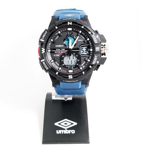Relógio Pulso Umbro Azul Borracha Estilo G-shock Umb-012-5