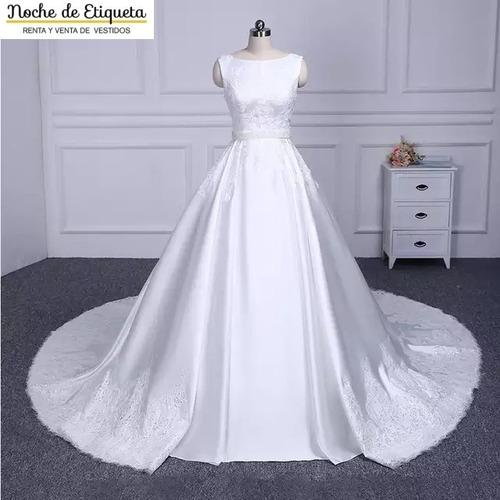 Vestido De Novia Corte A Satin Bordado