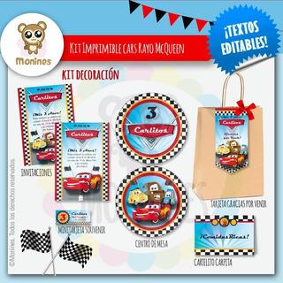 Kit Imprimible Cars Mcqueen Y Amigos ¡textos Editables!