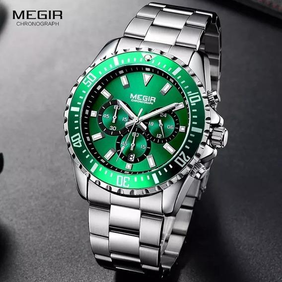 Relógio Masculino Prata Megir 2064 Original Silver Green!