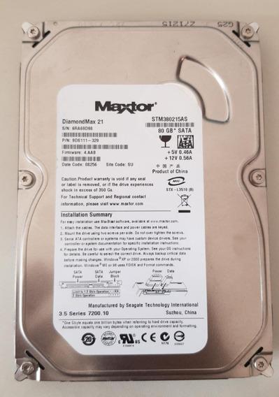 Hd Sata Maxtor 80gb 7200.10 Rpm Desktop Stm380215as Usado