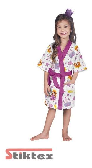 Roupão Felpudo Infantil Quimono Estampado Princesa M (8 A 10