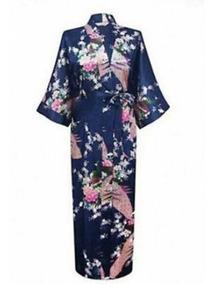 Kimono Japones Longo Robe Noiva Roupa Cetim Pavão + Brinde