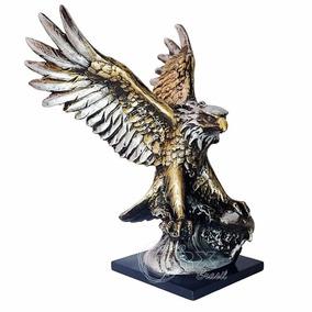 Águia Pescadora Metalizada Decorativa Escultura Enfeite