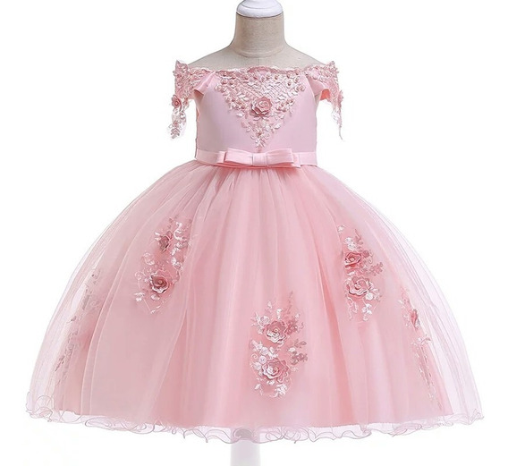 Vestido De Fiesta Para Niña Elegante Vestido Boda Niña T4- 8