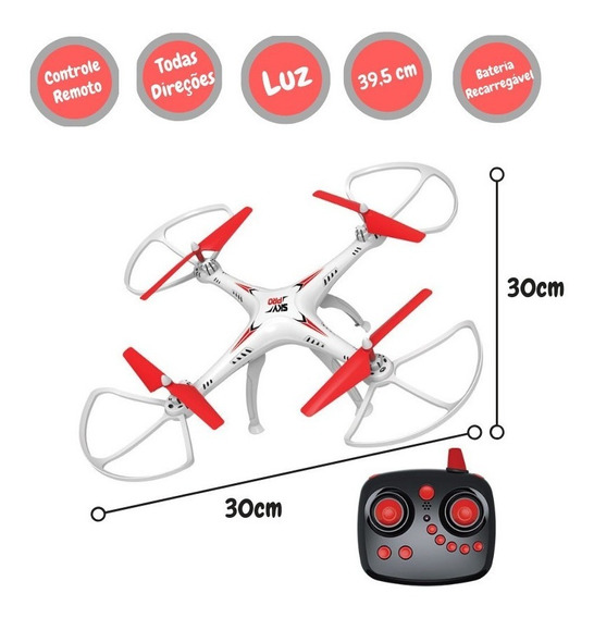 Drone Quadricóptero Vectron 6 Direções Led Controle Remoto