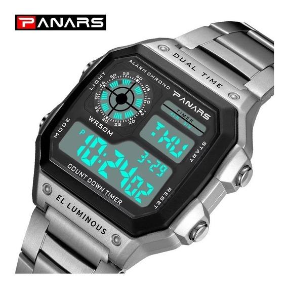 Reloj Digital Led Pulsera Acero Inoxidable Impermeable.