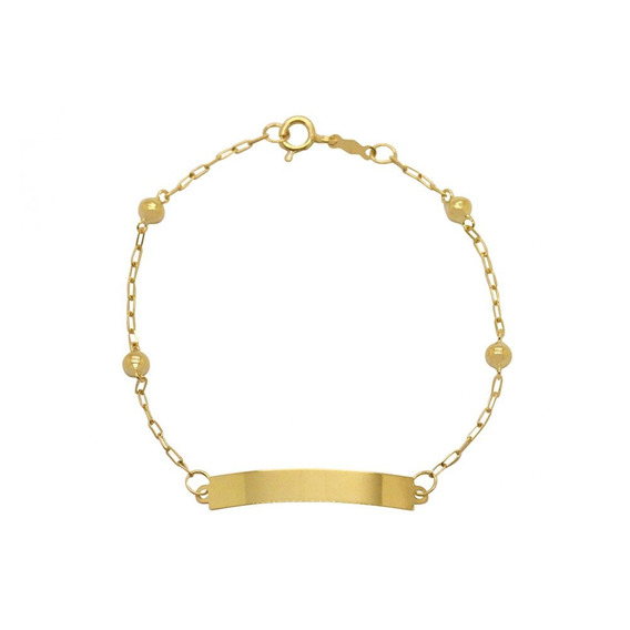 Pulseira Infantil Chapa Lisa Em Ouro 18k - Ov/6453