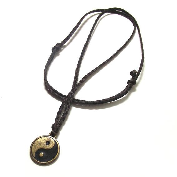 Colar Yin Yang Chinês Trançado 2 Em 1 Cordão Regulável