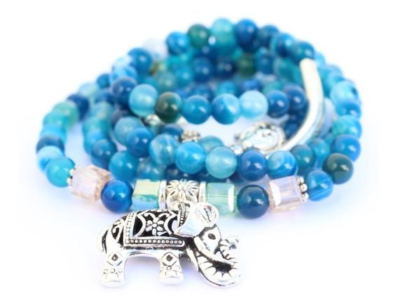 Malas Pulsera Collar Agata Azul Con Dije Elefante Buda Leon