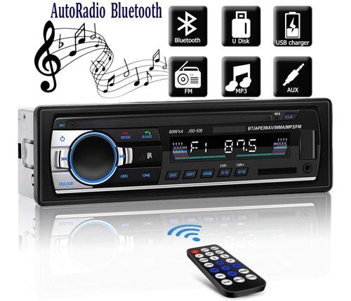 Reproductor Mp3 1 Din Auto Estereo Con Bluetooth Aux Usb