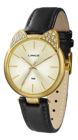 Relogio Lince Feminino Lrc621l C1px Dourado Couro Preto