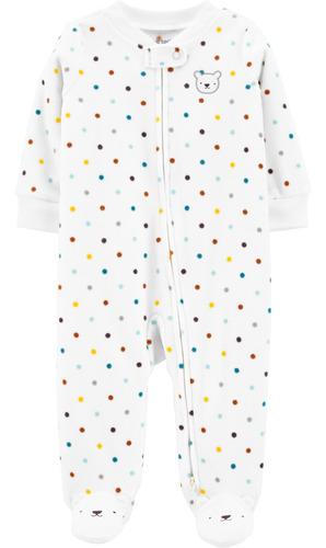 Pijama De Polar Con Pies Estampado Lunares