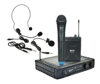 Micrófonos Skp Uhf282 Inalámbrico + Mano + Vincha +corbatero