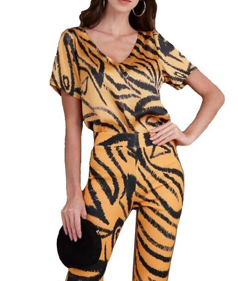 Conjunto Feminino Calça Flare E Blusa Casual Roupas Luxo Top