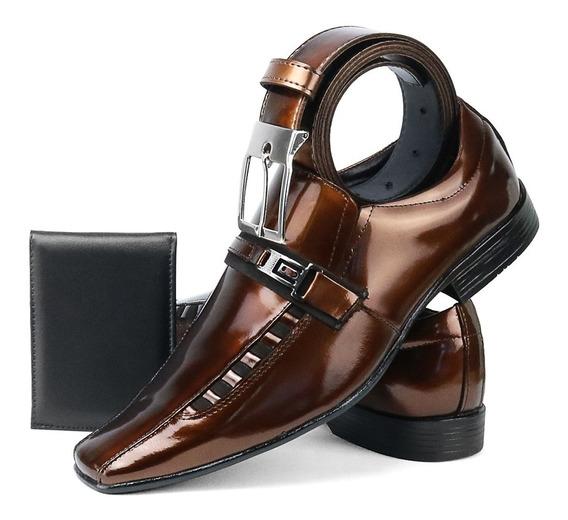 Sapato Social Masculino Combina Com Terno Kit Cinto+carteira