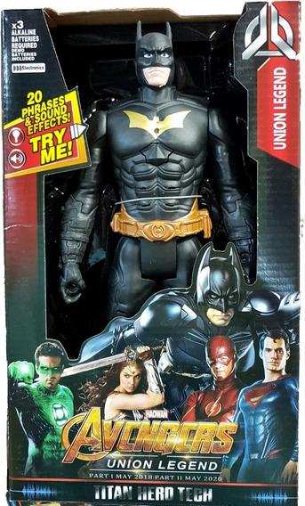 Boneco Batman Liga Da Justica Articulado Musical 30cm Grande