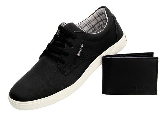 Sapato Preto Masculino Sapatenis Top Com Carteira Jump