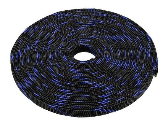 Malha Náutica Expansivel Preto Com Azul 10mm 5 Metros