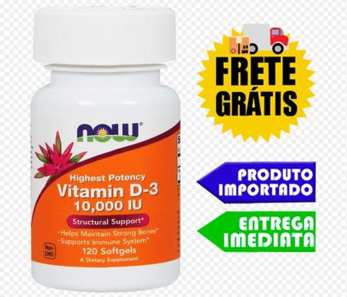Vitamina D3 10.000ui 120 Softgels Now Foods - Pronta Entrega