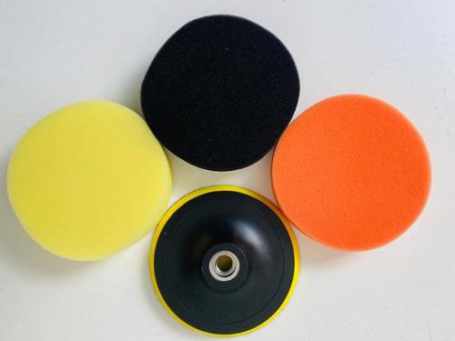 Imagen 1 de 10 de Set Pads 5 Pulgadas + Backing Plate M14 Amarillo/negro/naran