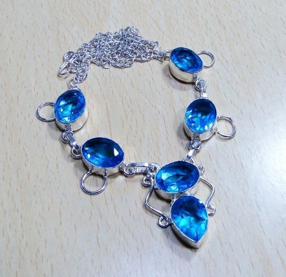 Colar Feminino Prata Com Pedras Quartzo Topazio Azul - J251