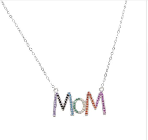 Collar Mom Amour En Plata 925 Circonias De Colores Estuche