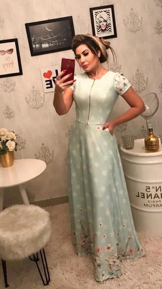 Vestido Longo Decote Zíper
