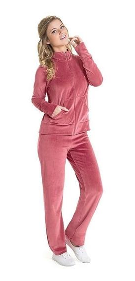 Conjunto Adulto Feminino Plush Veludo Calça Agasalho Frio