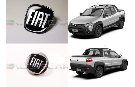 7 Adesivos Emblema Fiat Preto Strada ( Frete Fixo )
