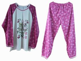 Pijama Feminino Inverno Roupa Dormir Adulto Longo Blusa Frio