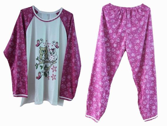 Pijama Feminino Inverno Roupa Dormir Malha Manga Calça Blusa