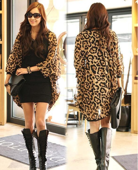 Moda Mujer Leopardo Batwing Manga Suelta Gasa Abrigo Cardiga