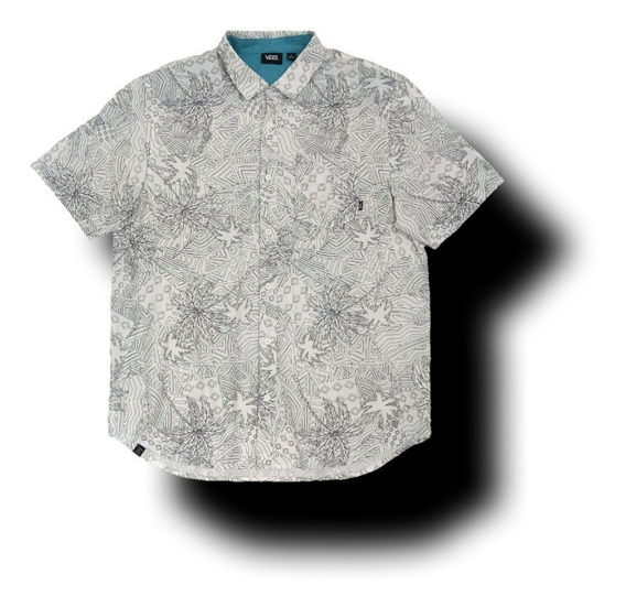 Camisa Vans Blanco Palmeras Hawaiana Tropical Playa Urban Beach