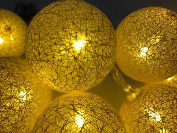 Cordão 10 Led Bola Cotton Ball Decoração Festa Branco Quente