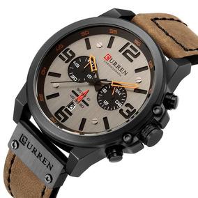 Relógio Masculino Curren Luxo Couro Militar Data Esporte