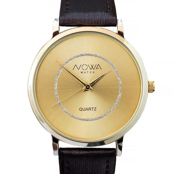 Relógio Nowa Feminino Dourado Couro Nw1410k Original