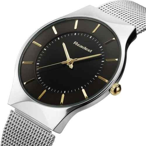 Relógio Readeel Slim Prata Com Preto Rd1276
