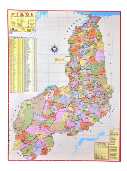 Mapa Geo Político Rodoviário Do Estado Do Piauí 1,20 X 0,90m