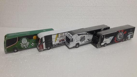 Kit 4 Ônibus Miniatura Palmeiras Corinthian Sao Paulo Santos