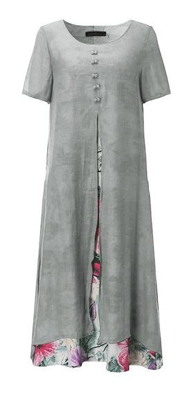 Vestido Largo De Verano Mangas Cortas Floreado Para Mujer