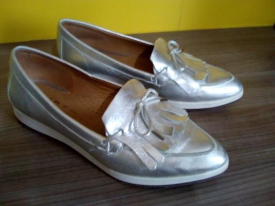 Sapato Feminino Prata Tipo Mocassins Tam 36 Couro Original