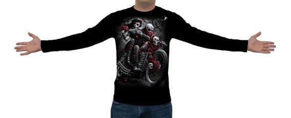 Camiseta Caveira Motoqueiro Fantasma Ml02 - Manga Longa
