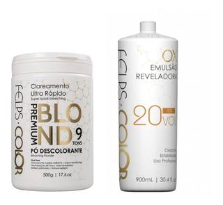 Felps Pó Descolorante Premium 9 Tons + Ox 900ml + Brinde