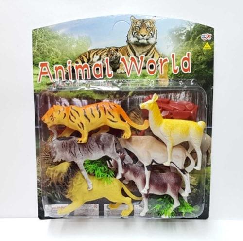 Set De 6 Animales Con  Arbustos Juguete Niños +3 $em