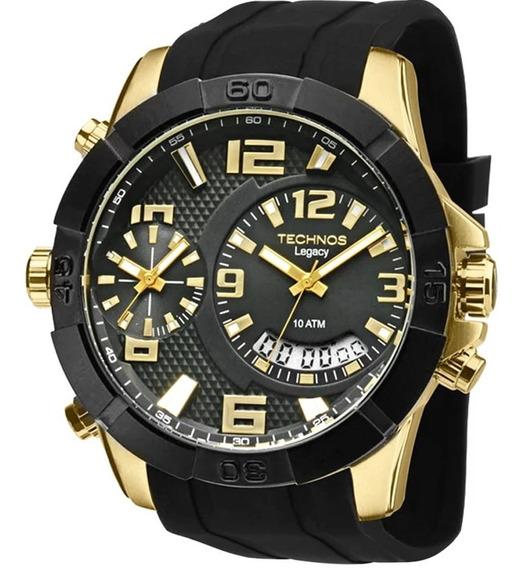 Relógio Technos Masculino Preto T205fj/8p C/ Garantia E Nf