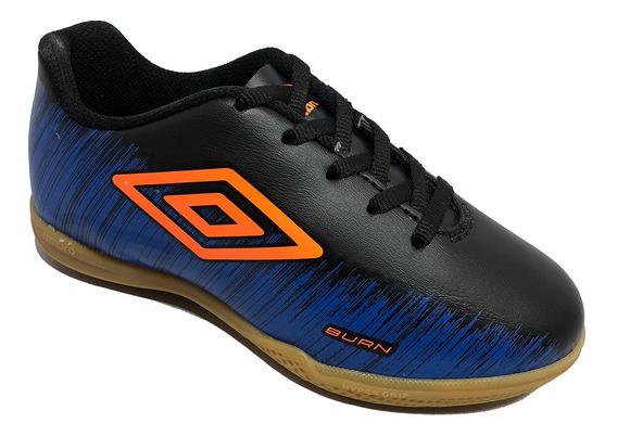 Chuteira Infantil Futsal Umbro Burn Jr Preto E Azul Original