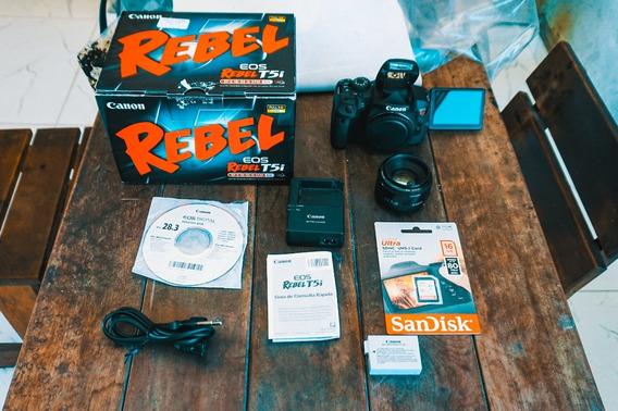 Canon T5i Na Caixa + Lente 50mm + Cartão 16gb + Frete Grátis
